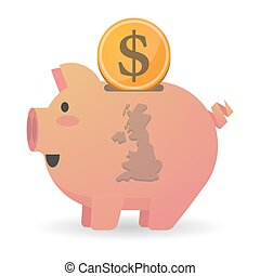 Isolated piggy bank icon with a map of the UK
