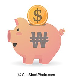 Isolated piggy bank icon with a won currency sign