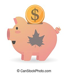 Isolated piggy bank icon with an autumn leaf tree