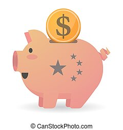 Isolated piggy bank icon with  the five stars china flag symbol