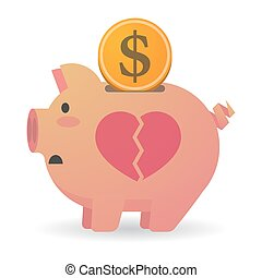 Isolated piggy bank with a broken heart