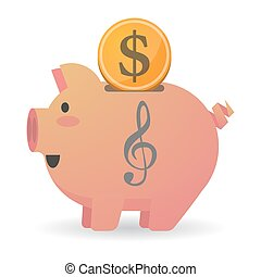 Isolated piggy bank with a g clef - Illustration of an...