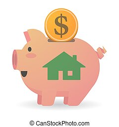 Isolated piggy bank with a house