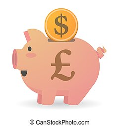 Isolated piggy bank with a pound sign