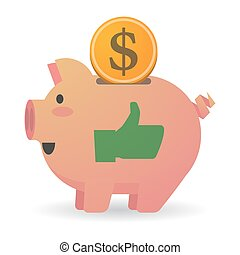 Isolated piggy bank with a thumb up hand