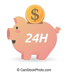 Isolated piggy bank with the text 24H - Illustration of a...
