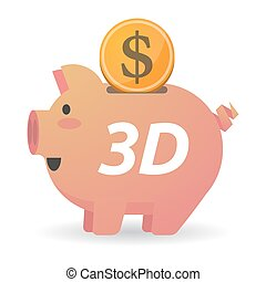 Isolated piggy bank with    the text 3D