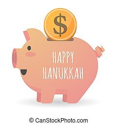 Isolated piggy bank with    the text HAPPY HANUKKAH
