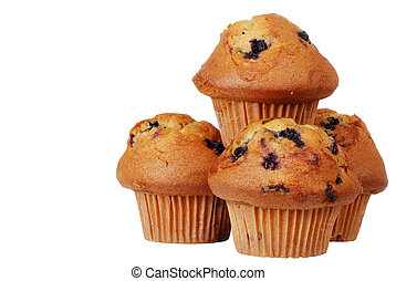 Isolated pile of blueberry muffins