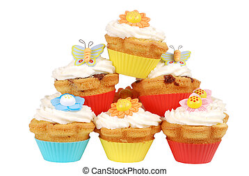Pile of easter cupcakes