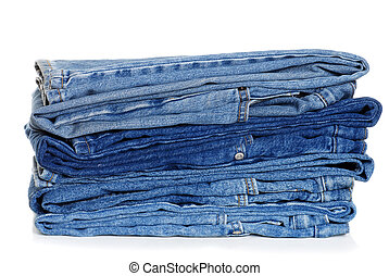pile of folded blue jeans