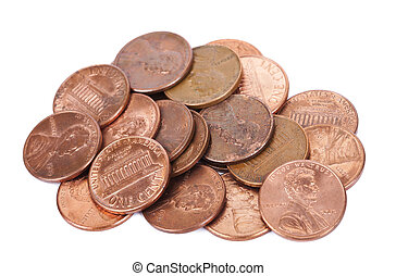 Isolated Pile of Pennies