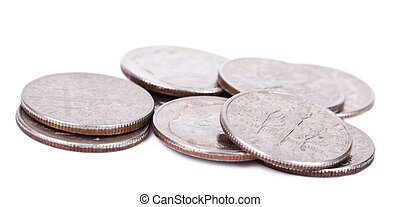 isolated Pile of US Dimes
