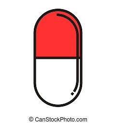 Isolated pill icon on a withe background - Vector