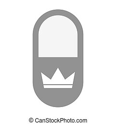 Isolated pill icon with a crown