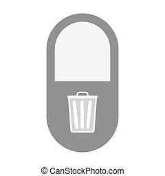 Isolated pill icon with a trash can