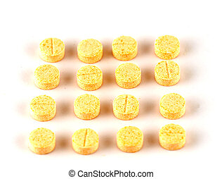 Isolated pills on white background