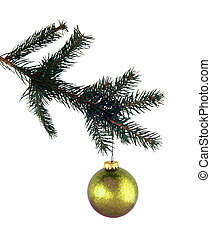 pine branch and gold glass isolated on white (with clipping path for easy background removing)