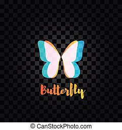 Isolated pink and blue butterfly vector logo. Insects logotype. Wings.