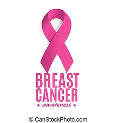 Isolated pink color ribbon on the white background logo. Against cancer logotype. Stop disease symbol. International worldwide breast cancer week. Medical sign. Vector illustration.