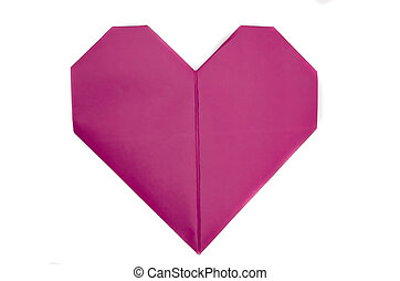 Isolated pink paper heart for Valentine's Day