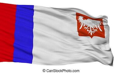 Isolated Piotrkow Trybunalski city flag, Poland - Piotrkow...