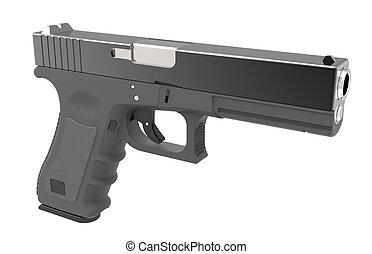 Isolated pistol on white background. 3D render