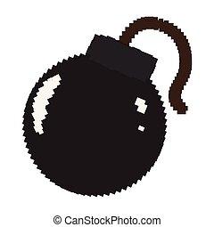 Isolated pixelated bomb icon
