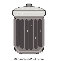 Isolated pixelated trashcan - Pixelated trashcan isolated on...