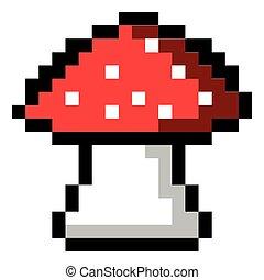 Isolated pixeled mushroom