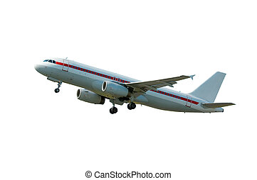 isolated Plane on takeoff - aircraft on takeoff (isolated...