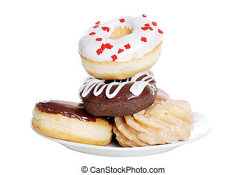 plate of assorted doughnuts
