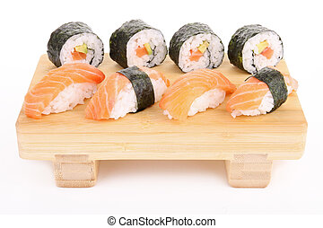 isolated plate of sushi and sushi m