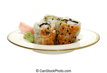 Isolated Plate of Sushi