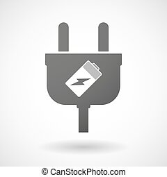 Isolated plug icon with a battery