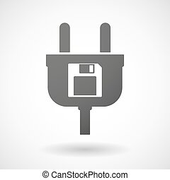 Isolated plug icon with a floppy disk