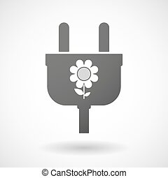 Isolated plug icon with a flower