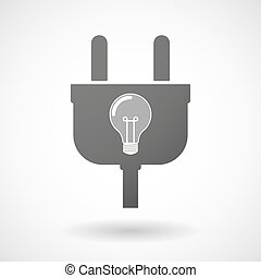 Isolated plug icon with a light bulb
