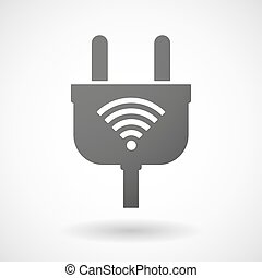 Isolated plug icon with a radio signal sign
