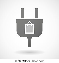 Isolated plug icon with a shopping bag