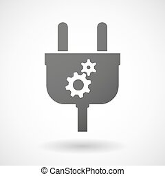 Isolated plug icon with two gears