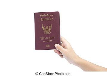 isolated., poco, asimiento, pasaporte, mano