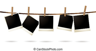 isolated polaroid - Collection of blank images hanging on a...