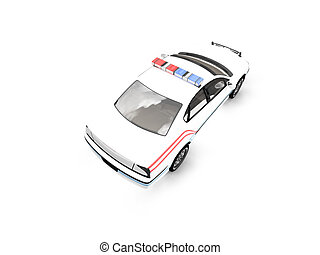 isolated police white car back view 01