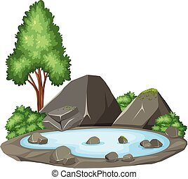 Isolated pond on white background