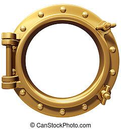 Isolated porthole - Illustration of a bronze ship porthole ...