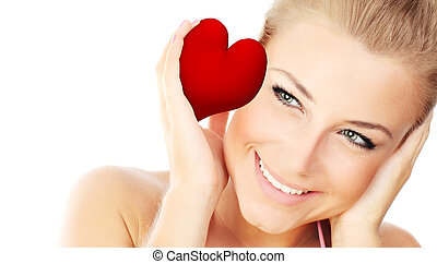 Isolated portrait of a beautiful female holding heart