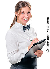 isolated portrait of a happy waitress with notepad