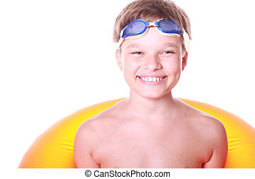 Isolated portrait of a very happy kid in swimming glases and...
