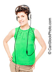 isolated portrait of a woman with headphones on white background